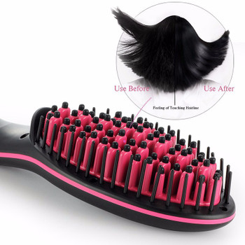 2018 New Hot TV simply straight ceramic electric degital antiscal fast brush hair straightener comb lcd smooth brush hair irons