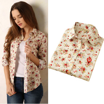 new 2018 Fashion women vintage floral printed flower cotton blouse long sleeve elegant Shirts casual slim S-XL sping Autumn