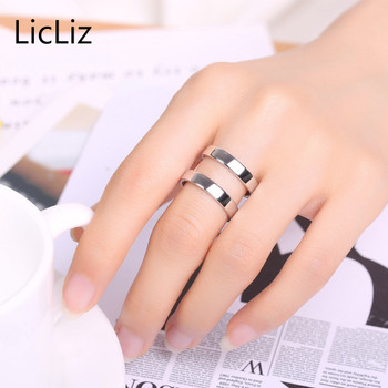 LicLiz 925 Sterling Silver Open Ring Adjustable Double Layers Finger Rings Bands H Solid Ring Plain For Women Men Jewelry LR0305