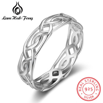 Trendy 100% Real 925 Sterling Silver Size Rings for Women Female Twisted Woven Design Finger Ring Jewelry Gift (Lam Hub Fong)