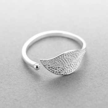 New 925 sterling silver fashion simple leaf ring female small fresh leaf rings adjustable forefinger silver 925 jewelry