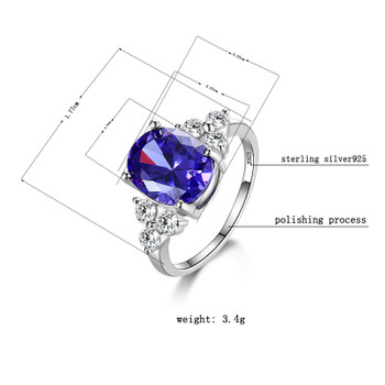 Standard Sterling Silver S925 Ring Fashion Women Purple Zircon Wedding Party Gifts Korean Style FCGJHW