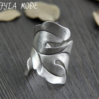999 Silver Jewelry Ring For Women Thai Silver Ring Vintage Leaf Lady Ring Adjustable Antique Accessory Width 30mm Weight 8.50g
