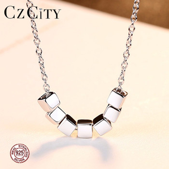CZCITY Seven Square Silver Beads Chain Necklace 925 Sterling Silver Women Fashion Pendant Jewelry Factory Wholesale Fine Jewelry