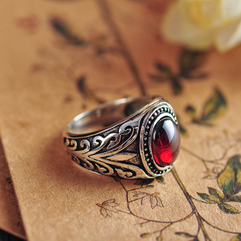 925 Sterling Silver Black Agate & Red Garnet Ancient Vne Flowers Ring Men Thai Silver Fine Jewelry Gift Finger Ring CH037009