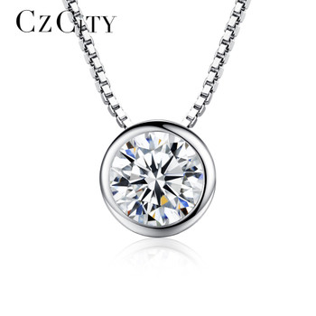 Charm 925 Silver White Topaz Pendant Jewelry Necklace Chain Choker Party Gift