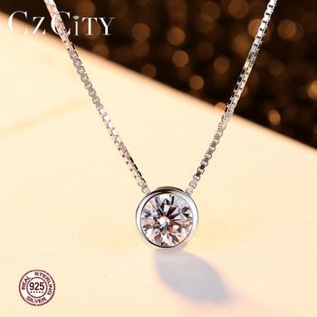 CZCITY Brand 1 Carat Zircon Stone Charm Women Pendant 925 Silver Box Chain Necklace for Women Simple Classic Silver Jewelry Gift