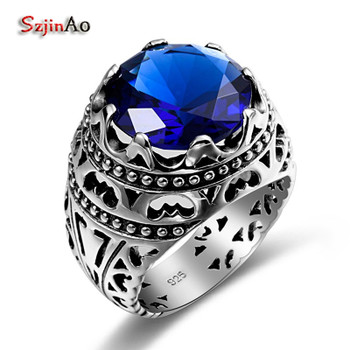 Szjinao Fashion Ethnic Silver Ring Blue Stone Joyas Vintage Cristales Sapphire Sterling Silver Rings For Women Men Rebajas