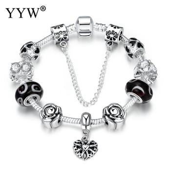 2017 BLACK FRIDAY European Charm Beads Bracelet & Bangle AuthenticHeart Chain Bracelets for Women Girls DIY Silver Color Jewelry