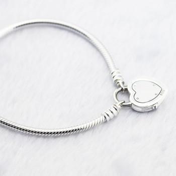 Bracelet Sterling-Silver-Jewelry Lock Your Promise BangleS & Bracelets for Women Jewelry Pulseira Masculina Feminina Silver 925