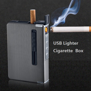 Push Out Metal Cigarette Box With usb Electronic Lighter Flameless Windproof Torch Lighter Ciagrette Holder Case Gadgets for Men