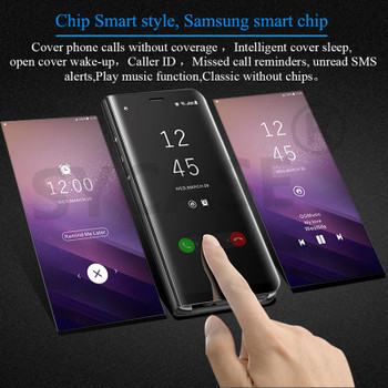 SYCASE For Samsung Galaxy Note 8 5 S6 S7 Edge S8 Plus Luxury Flip Cover Leather Smart Chip Case Clear View Standing Mirror Case