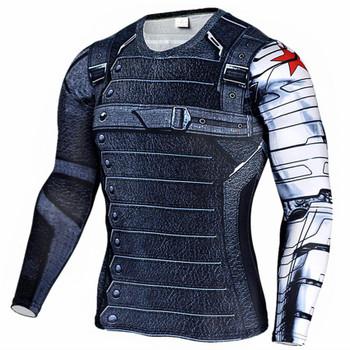 2017 Marvel Superhero Winter Soldier Bucky 3D Men T Shirt Fitness Crossfit T-Shirt Long Sleeve Compression Shirt Mens MMA