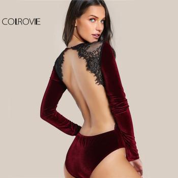 COLROVIE Backless Velvet Lace Bodysuit Burgundy Elegant Women Applique Long Sleeve Bodysuit 2017 New Sexy Vintage Party Bodysuit