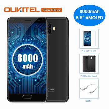 Original 8000mAh OUKITEL K8000 4G LTE Smartphone MT6750T Octa-Core Android 7.0 16MP+13MP 4G RAM 64G ROM 5.5'' Mobile Phone