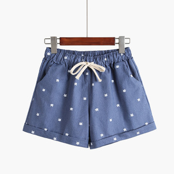 Free Shipping Hot Sale Female Dot Printed Shorts Casual High Elastic Waist Draw String Loose shorts With Pocket C212