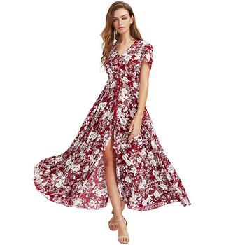Bohemia Floral Print Long Women Dress Beach Ladies Sexy Summer Button Boho Maxi Dress Vintage Party Dresses LDW1026