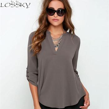 2017 Big Yard Tops Women V-neck Chiffon Blouses 3/4 Sleeve Female Shirt Fashion Large Size Plus Size Feminina Camisas  Blusas