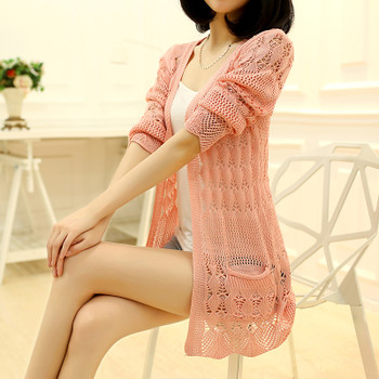 OHCLOTHING 2017 Fashion Knitted Cardigan Loose Pocket Hollow Long Sleeve Women Sweater Female Cardigans Women's Coats Outerwear