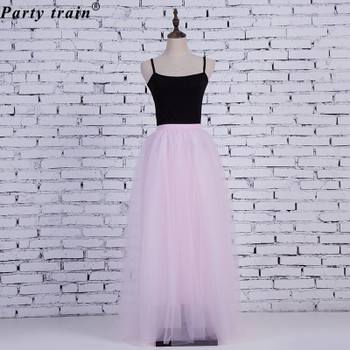 2020 Spring Fashion Womens Lace Princess Fairy Style 4 layers Voile Tulle Skirt Bouffant Puffy Fashion Skirt Long Tutu Skirts