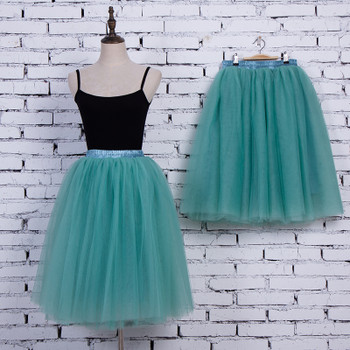 5 Layers 65cm Princess Midi Tulle Skirt Pleated Dance Tutu Skirts Womens Lolita Petticoat Jupe Saia faldas Denim Party Skirts