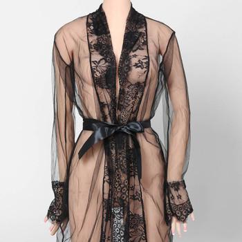 2017 Newest Fashion Women Sexy Lace Robe Dress Breathable Lace G-string Dress Bathrobes Pajamas Sleepwear