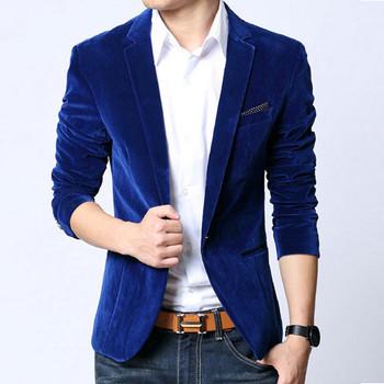 Mens blazer slim fit suit jacket black navy blue velvet 2018 spring autumn outwear coat Suits For Men