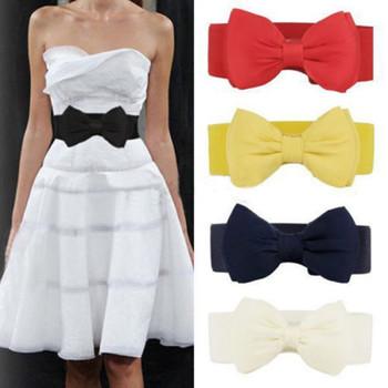 2018 Summer Elegant Sweet Big Bow Waistband Elastic Wide Dress Stretch New Designer Belts for Women Vintage Girls Cinch Belt