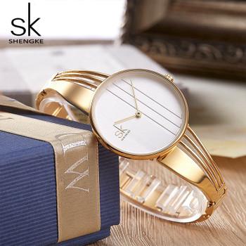Shengke Unique Quartz Watch Women Luxury Silver Bracelet Watches Lady Dress Creative Dial Watches 2018 SK Relojes Mujer #K0062