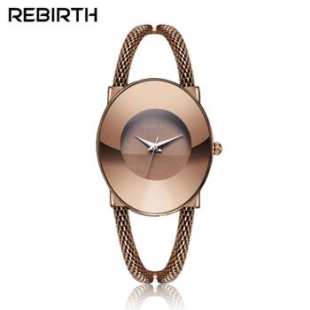 REBIRTH Women Bracelet Watches Simple Ladies Dress Wrist watches for Female Clock Rose Gold Stainless Steel Strip Quartz Watch
