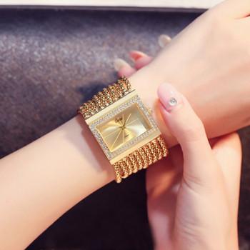 Chic Luxury Gold Women Watches Quartz-watch Stainless Steel Analog Ladies Clock Rhinestone Bracelet Watch Hour Relogio Feminino