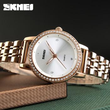 SKMEI Women Watches Top Brand Luxury Ladies Quartz Watch Rose Gold Dial Rhinestone Fashion Women Bracelet Watch Relogio Feminino