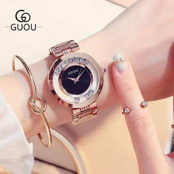 GUOU Women's Watches Ladies Watch Fashion Luxury Bracelet Watches For Women Rose Gold Rhinestone Clock Women reloj mujer saat