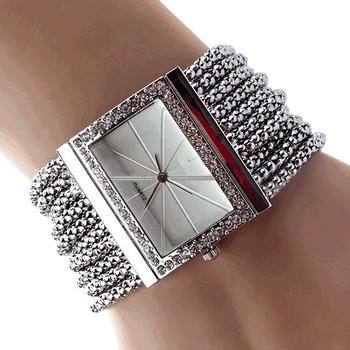 2017 New Fashion Alloy Silver Band Quartz Wtach Luxury Women Rhinestone Bangle Bracelet Watch Dress Ladies Wrist Clock 6T4T