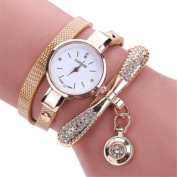 Women Famous Brand Watches Fashion Women's Ladies Leather Rhinestone Analog Quartz Dress Wrist Watches Montre Bracelet Femme
