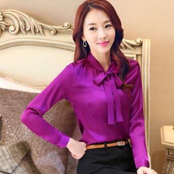 2016 Long sleeve bow blouse women satin blouse silk satin top big size elegant office satin shirts women formal blouses uniform