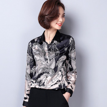 7a10c23853e30 New Arrival 2018 Spring Female Imitation Silk Satin Blouse Slim Women s  Printing Shirt Long Sleeve Plus