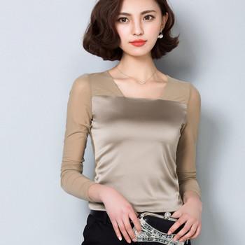 2016 Autumn long sleeve silk shirt women satin blouses women mesh shirt body shirt lady inner mesh tops bright satin tops