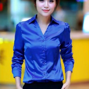 2017 Spring long sleeve blue satin blouses women white silk shirts women work wear office OL white satin shirts lady satin tops