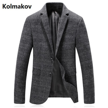 KOLMAKOV 2017 autumn new men's suits single button casual wool blazers,stripe jacket men, Wedding dress high quality blazers men