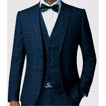 Dark Blue Check Men Suit Tailored Plaid Suits For Men, Mens Checkered Suit Gingham Tuxedo, Elegant Plaid Business Casual Suit