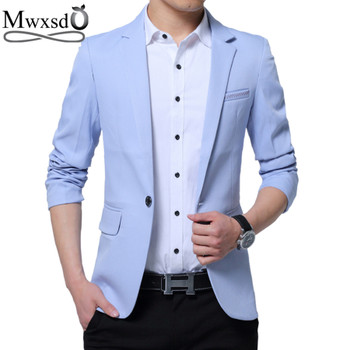 Mwxsd brand Men's casual slim fit solid suit Blazer jacket men wedding dress blazer male black suit hombre blazer masculino