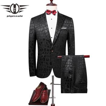 Jacketvestpants 2018 High Quality Men Suits Fashion Grid Stripe