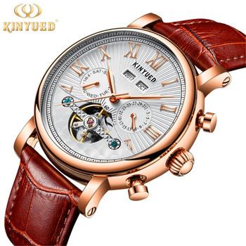 2018 KINYUED Men Tourbillon Full-automatic Mechanical Watch Luxury Fashion Brand Man Calendar Week Multifunctional Watches