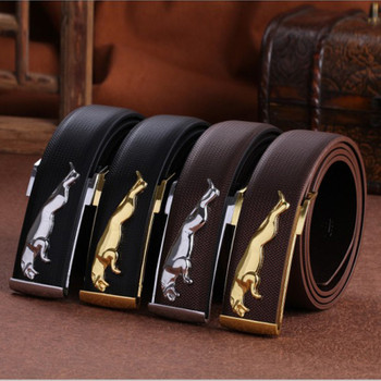 Genuine leather Men's leather belt, buckle strap Jaguar , Mens Gold leopard , casual all-match belt buckle
