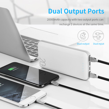 ROCK Power Bank 20000mAh for Xiaomi Universal Dual USB Slim PowerBank Portable External Battery Charger