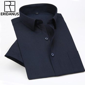 2016 Summer Men's Short-sleeved Business Shirt Male Professional Working High Quality Solid Color Loose Dress Shirts XS-5XL M073