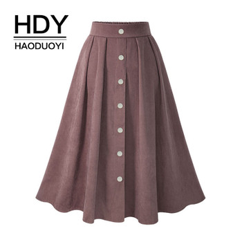 HDY Haoduoyi Pleated Skirts Button High Waist Elastic Mid Skirt Korean Style Women Skirts Fashion New 2018 Spring Summer Bottom