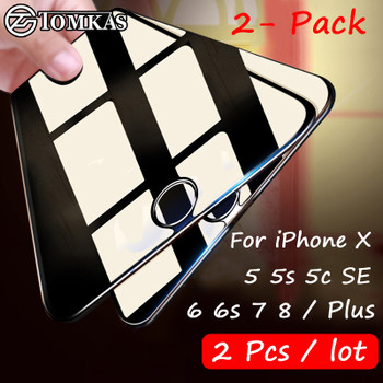 2 Pcs / lot Screen Protector For iPhone 5 5s 5C SE 6 6s 7 8 X Glass Film Ultra-thin Tempered For iPhone 6 6s 7 8 Plus 4 5 5s SE