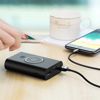 USAMS Qi Wireless Charger Power Bank 8000 MAH mAh Fast Rechargeable External Battery Portable USB Poverbank Charging Pad